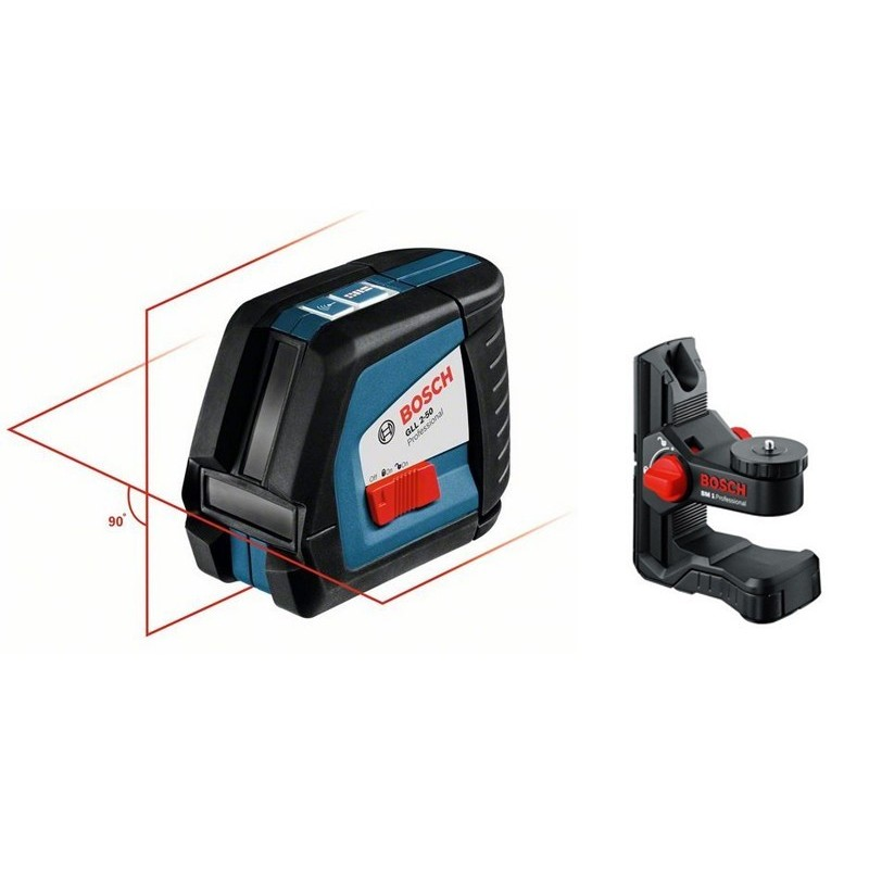 Pack niveau laser bosch gll 2 50 support bm 1 for Niveau laser bosch quigo 2