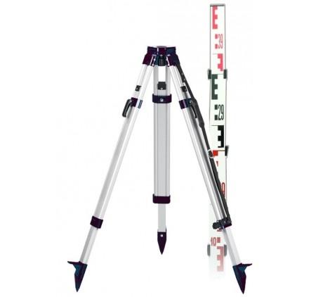 Pack trépied Geofennel aluminium et Mire télescopique 5 metres