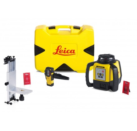 Pack Laser LEICA RUGBY 640 piles alcalines, Rod Eye Basic, Support mural