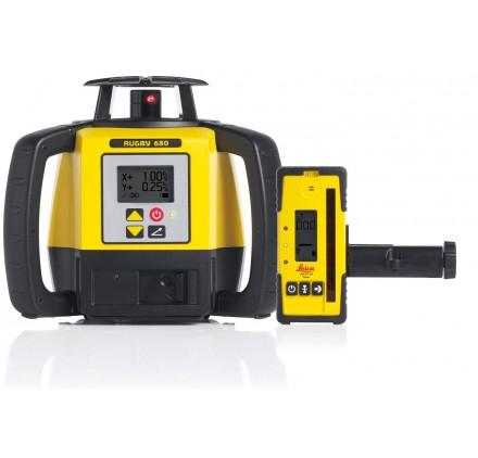 Laser RUGBY LEICA Double pente 680 en batteries Lithium et Rod Eye 140