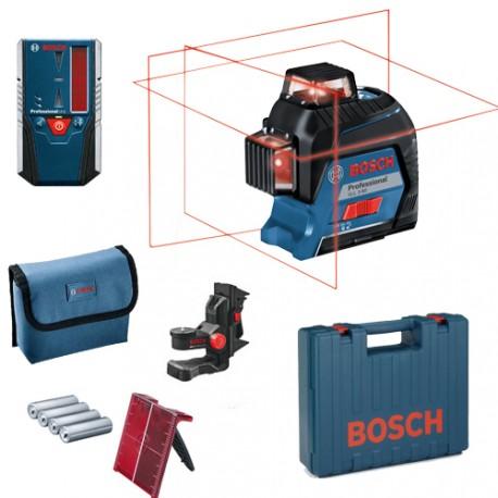 Laser BOSCH GLL3-80P + Support BM1 Plus + Cellule LR 2 en L-BOXX + 1 meuleuse offerte!